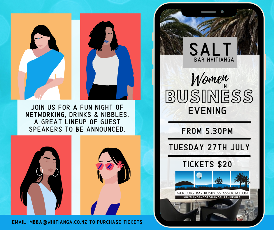 Mercury Bay Business Association's - Women in Business Evening - Tuesday July 27th - From 5.30pm